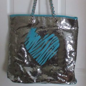 Betsey Johnson Betseyville Silver Sequin Tote